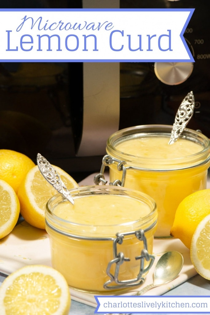 "Two jars of lemon curd in front of a microwave. The image include the text ""Microwave Lemon Curd"" making it perfect for saving to Pinterest."