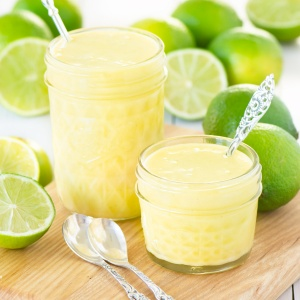 Two jars of homemade lime curd.