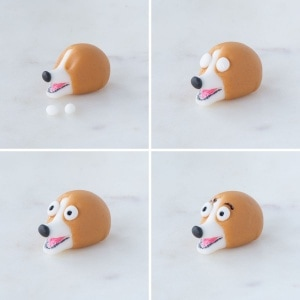 Step-by-step adding the eyes and eyebrows to the fondant corgi