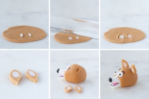 Step-by-step creating the ears and adding them to the fondant corgi