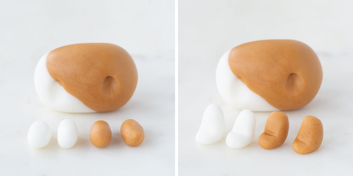 The four fondant legs - tow white and two brown. They're pictured next to the body to show a comparison of the size.