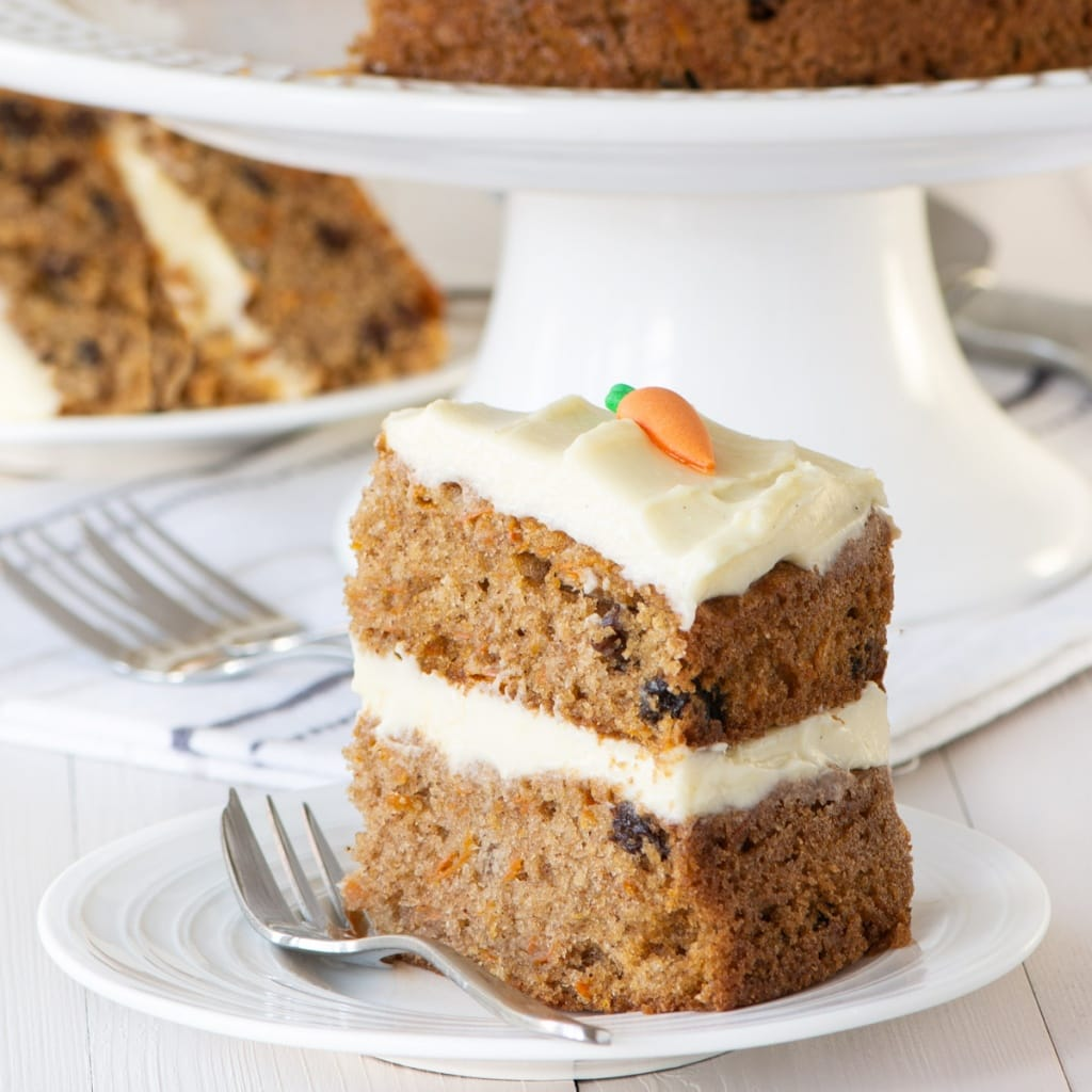 A slice of carrot cake.