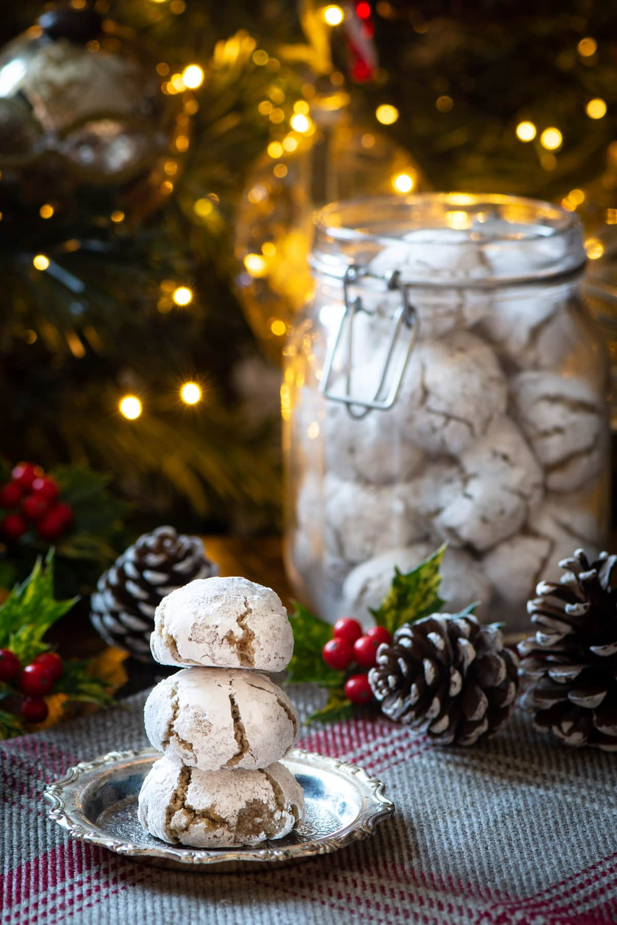A stack of Christmas amaretti biscuits.