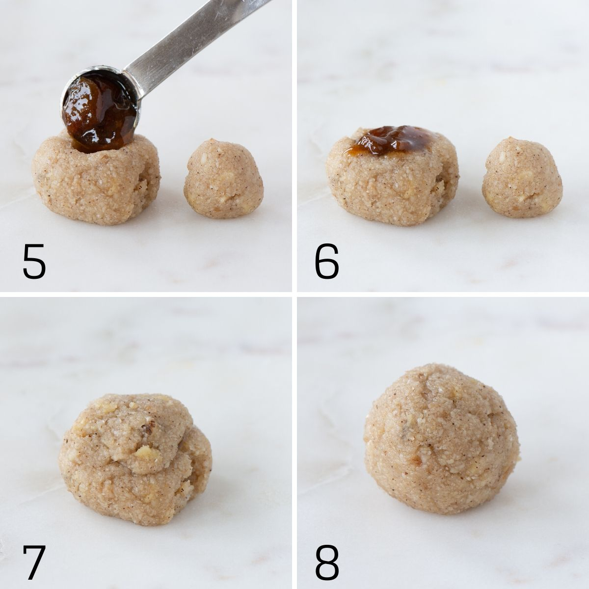 Steps 5-8 for adding a hidden mincemeat centre to your Christmas amaretti biscuits.  5) Adding mincemeat to the centre of the biscuits using a small spoon. 6) The biscuit after the mincemeat has been added. 7) After additional biscuit dough has been used to cover the mincemeat. 8) The biscuit dough has been rolled back into a round ball.