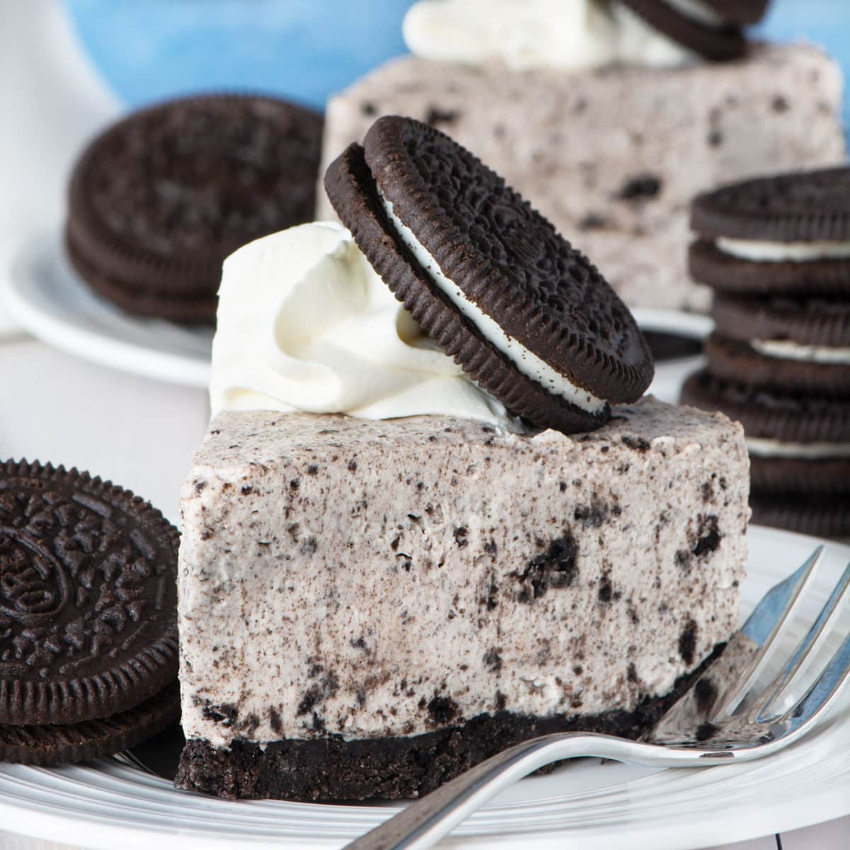 A slice of Oreo cheesecake.