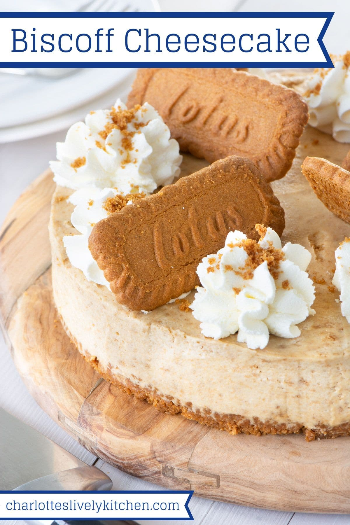 "The finished Biscoff cheesecake. The image also includes the title ""Biscoff Cheesecake"" in blue."