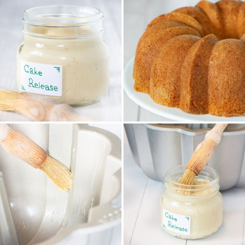 A jar of homemade cake release, a plain vanilla bundt cake and cake release being crushed onto the inside of a bundt tin.