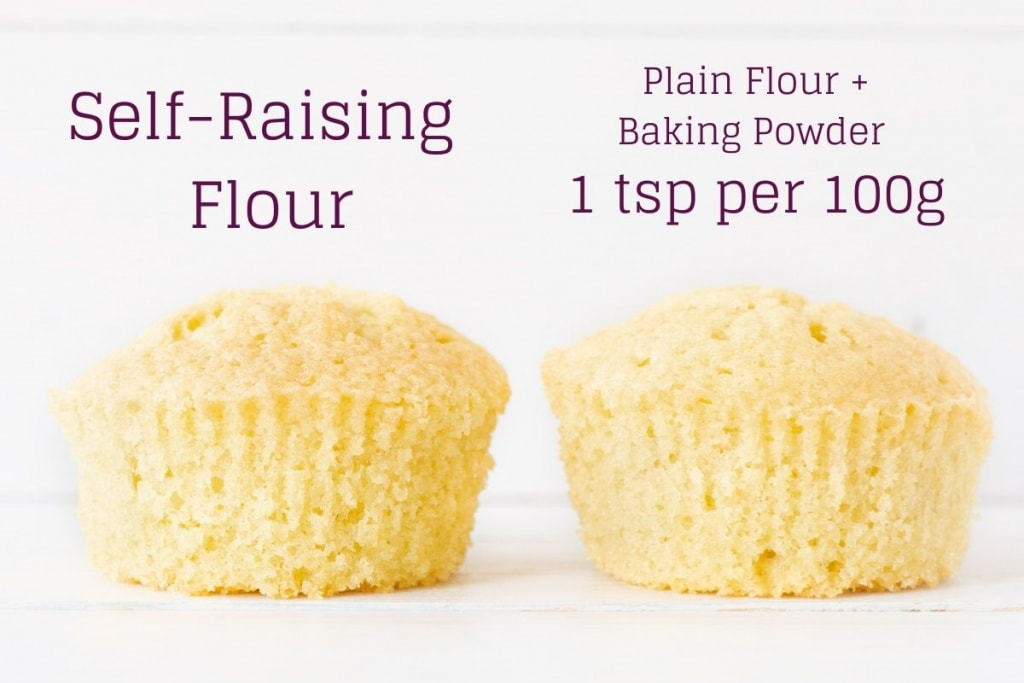 Two cupcakes, one made with self-raising flour and one made with plain flour and baking powder - 1 tsp per 100g. The cupcakes are nearly identical in height and shape.