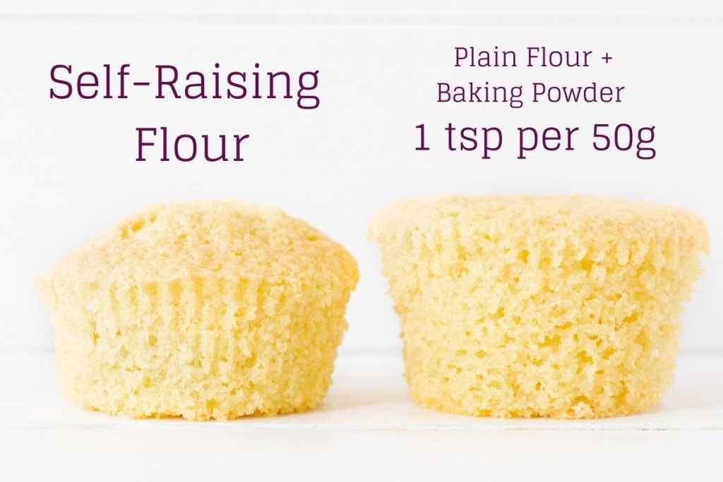 Two cupcakes, one made from self-raising flour and one made with plain flour and baking powder - 2 tsp per 100g.
