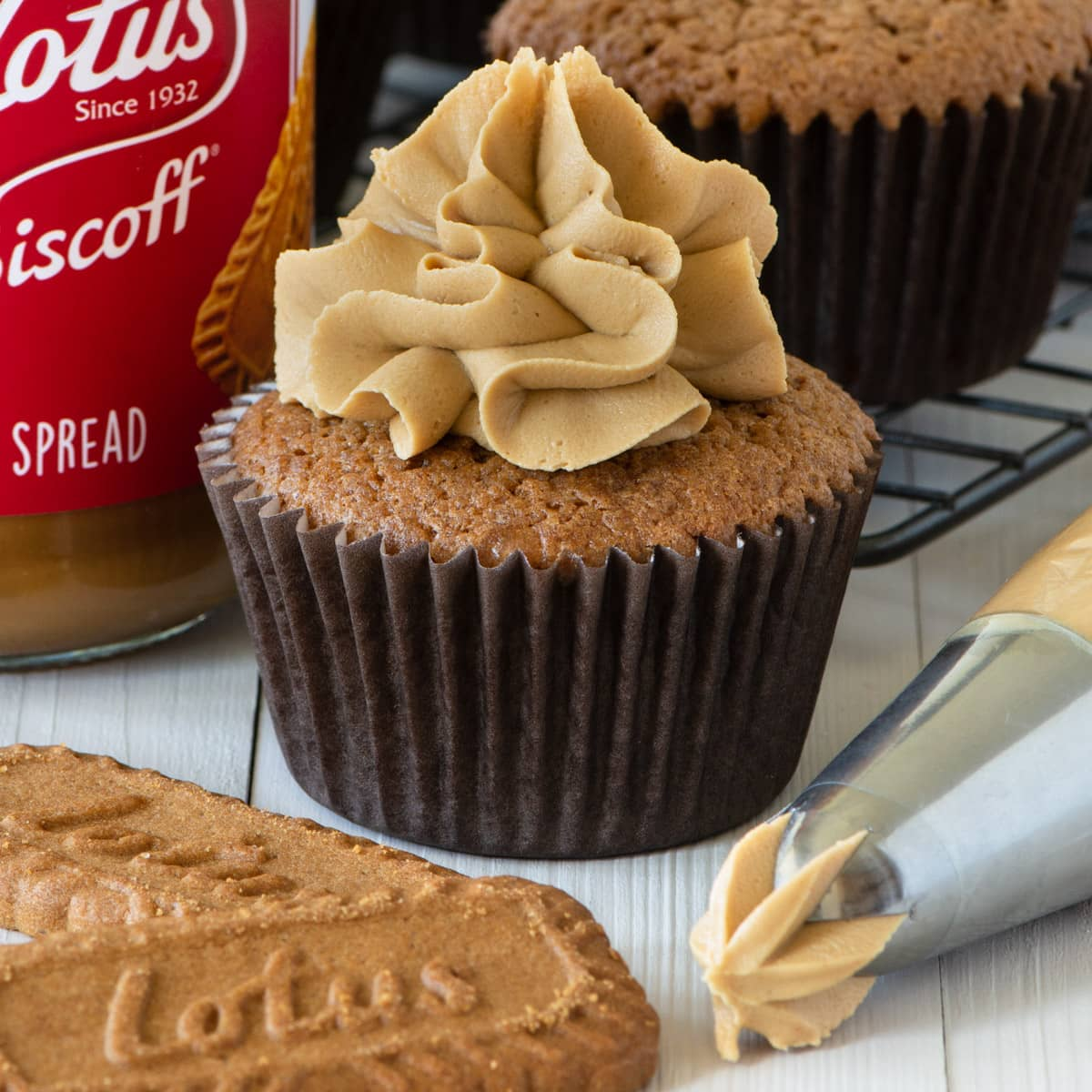 Cupcake topped with Biscoff buttercream.
