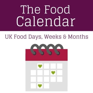 A cartoon calendar with the text The Food Calendar UK Food Days, Weeks and Months