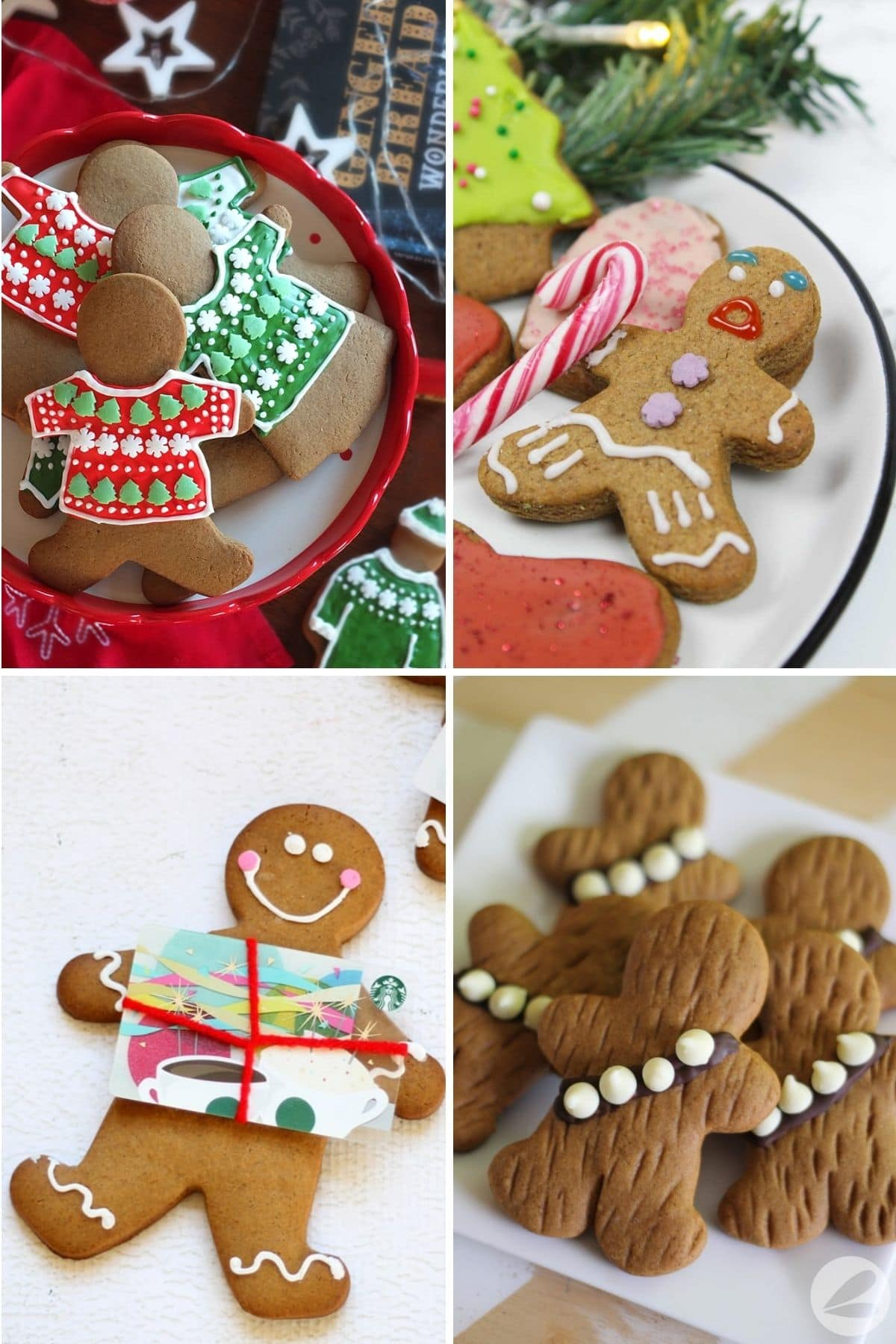 Four gingerbread man decorating ideas - ugly sweater gingerbread people, Gingy from Shrek, Gingerbread man gift card holder, Gingerbread Wookies.