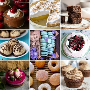 A grid of nine recipes made with aquafaba.