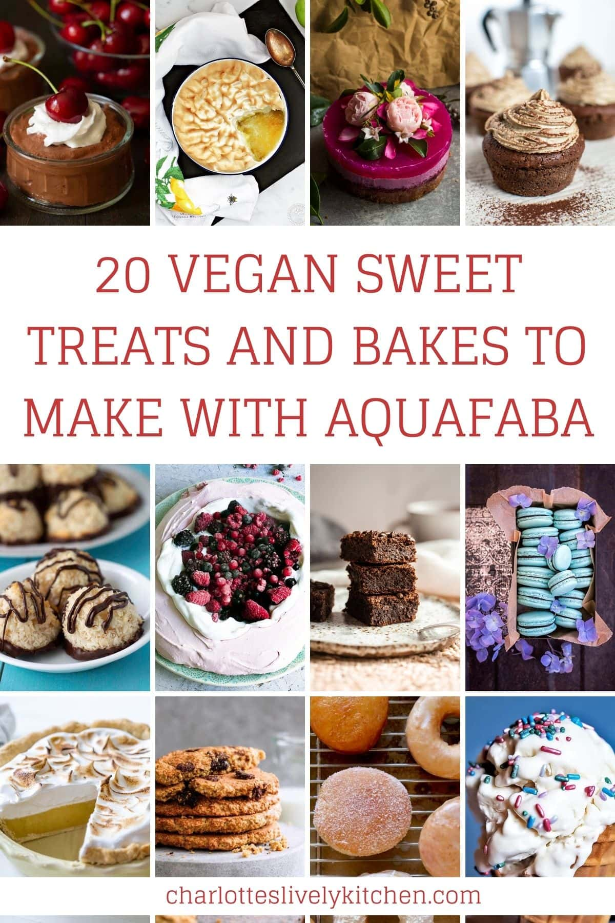 A collage of 12 different recipes made with aquafaba.