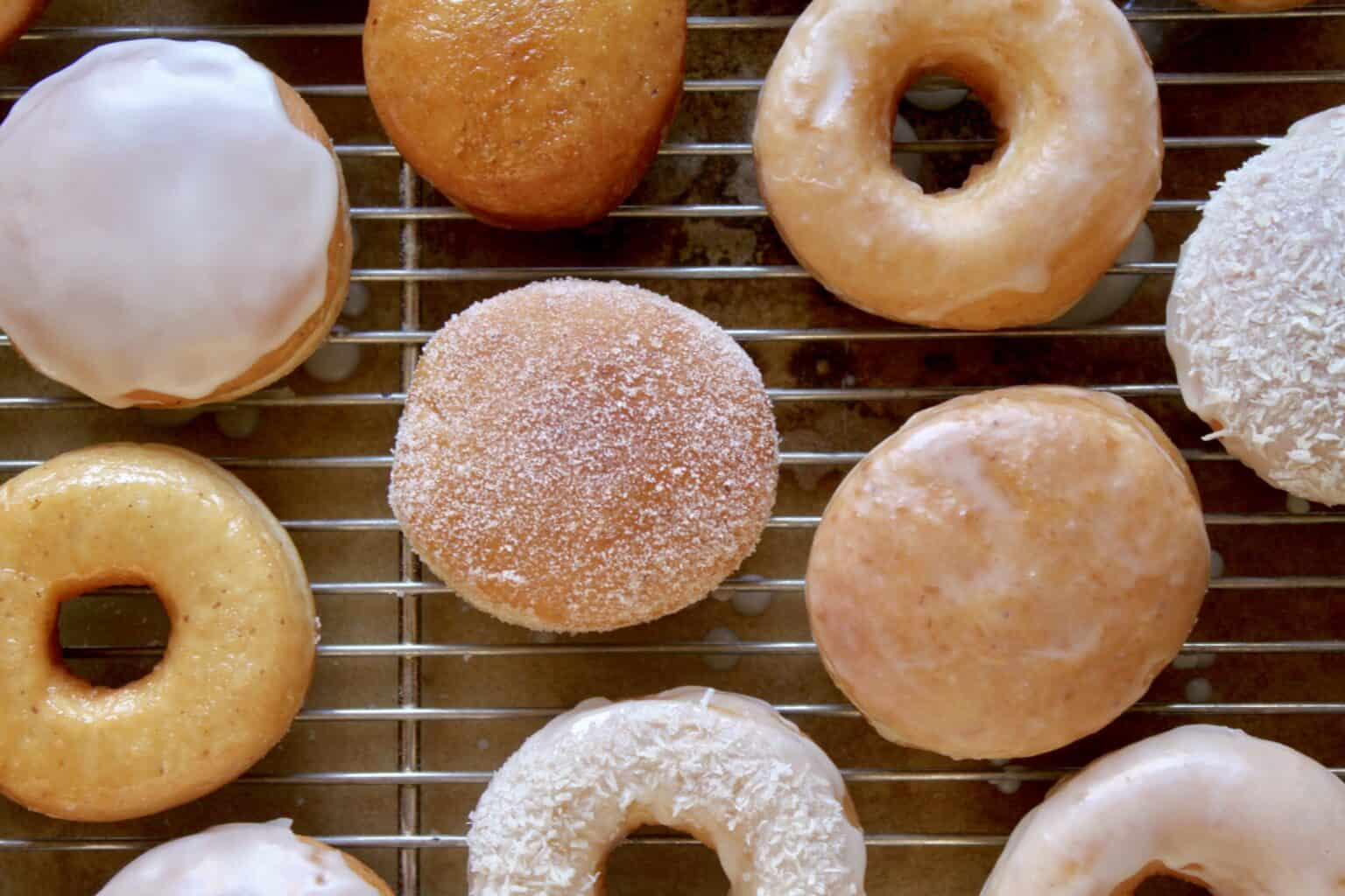 A selection of filled and ring vegan doughnuts.