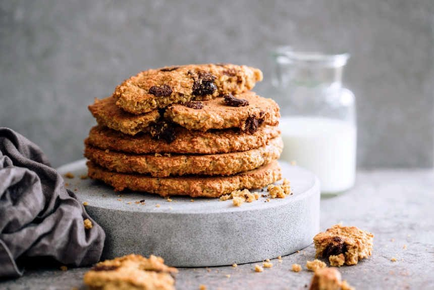 A stack of peanut butter and oatmeal cookies.