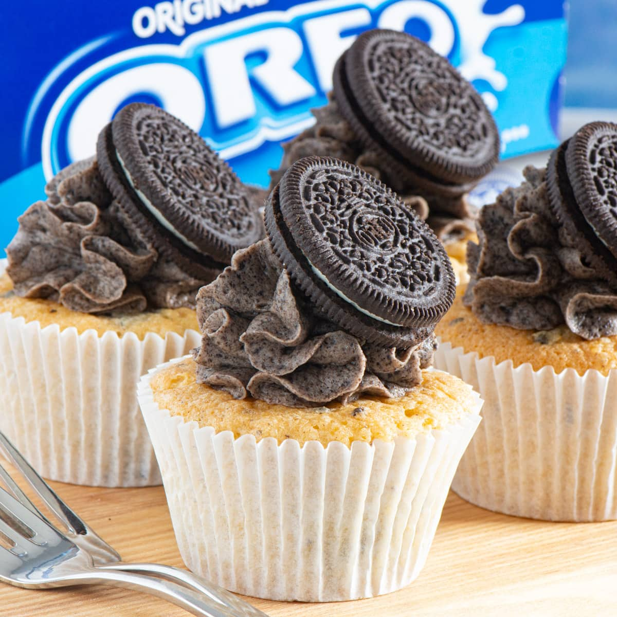 Oreo cupcakes on a wooden board