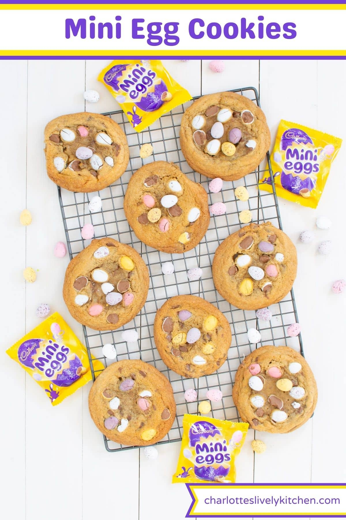 Mini egg cookies on a cooling rack with text saying Mini Egg Cookies.