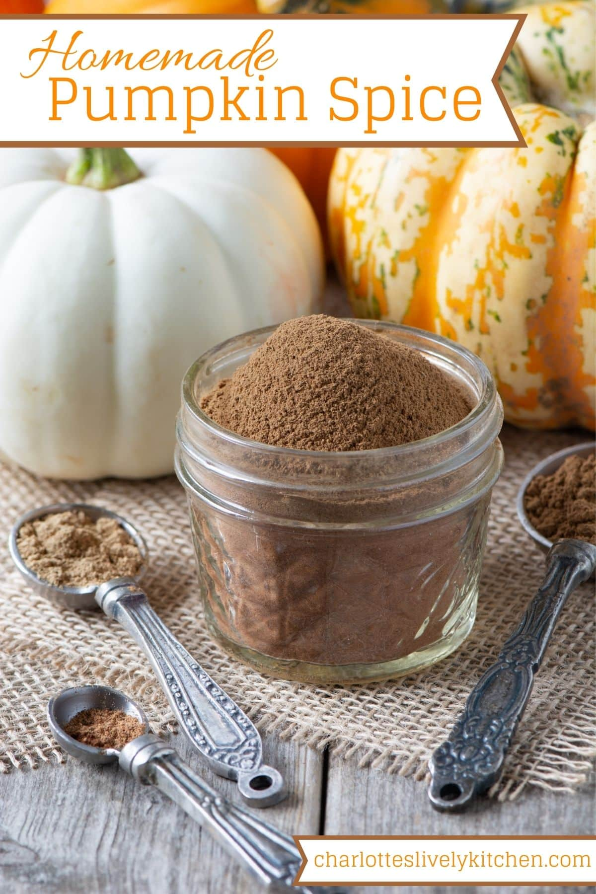 Pin graphics showing the pumpkin spice mix in a small jar with pumpkins behind and the various spices in spoons to the front. The website name and recipe title are included as text overlays.
